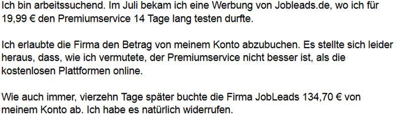 jobleads.de Kritik Kosten Abofalle