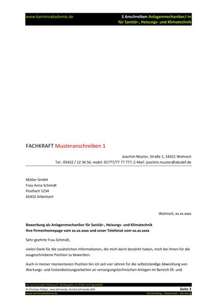 Bewerbungsschreiben Anlagenmechaniker