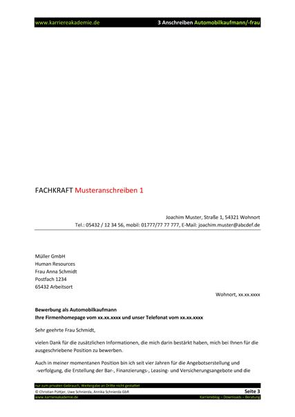 3 x anschreiben automobilkaufmann automobilkauffrau - Bewerbung Automobilkauffrau