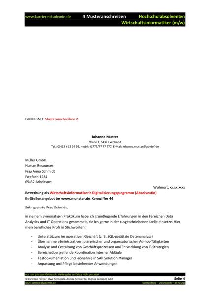 4 x Anschreiben Absolvent Wirtschaftsinformatiker (m/w ...