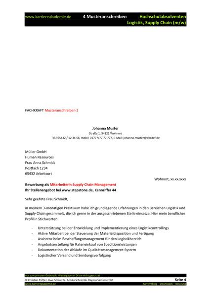 4 x Anschreiben Absolvent Logistik und Supply Chain (m/w ...