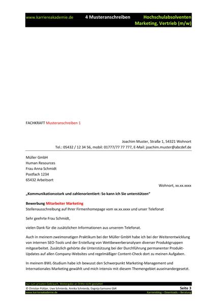 4 X Anschreiben Absolvent Marketing Und Vertrieb Mw