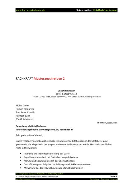 3 x anschreiben hotelfachfrau hotelfachmann - Bewerbung Als Hotelfachfrau