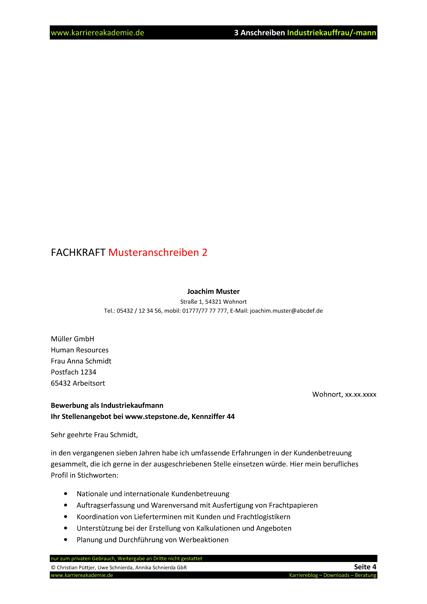 3 X Anschreiben Industriekaufmann Industriekauffrau | Karriereakademie