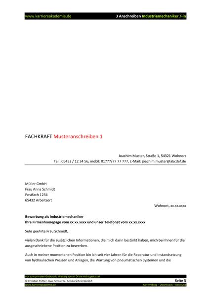 3 x anschreiben industriemechaniker industriemechanikerin - Bewerbung Industriemechaniker