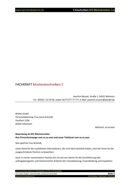 3 x anschreiben kfz mechatroniker kfz mechatronikerin - Kfz Mechatroniker Bewerbung