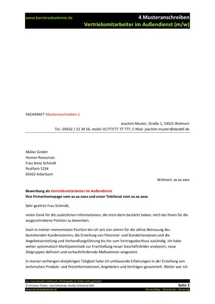 4 x anschreiben vertriebsmitarbeiter im auendienst mw - Email Anschreiben Bewerbung 4