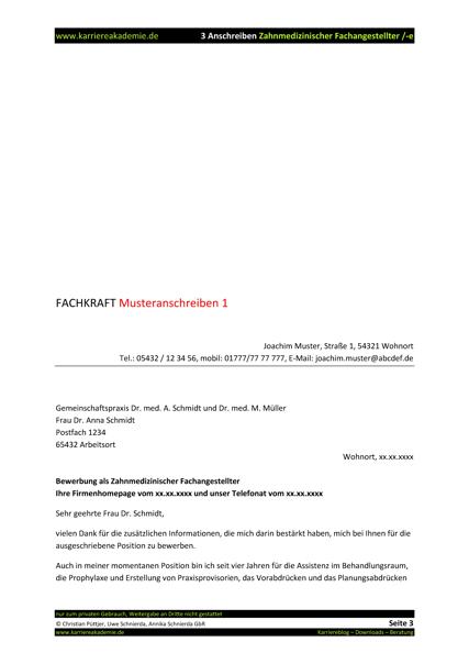 3 x anschreiben zahnmedizinische fachangestellte zahnmedizinischer fachangestellter - Bewerbung Zfa