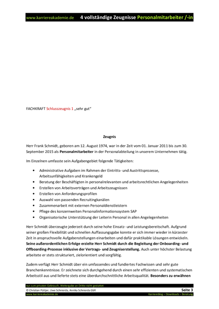 4 x arbeitszeugnisse muster personalmitarbeiterin - Arbeitszeugnisse Muster