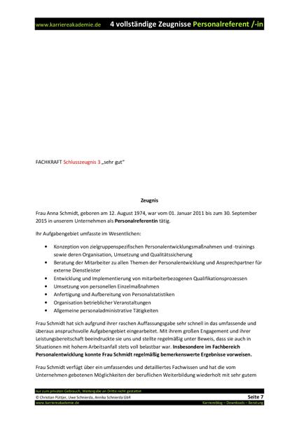 4 X Arbeitszeugnisse Muster Personalreferentin Karriereakademie