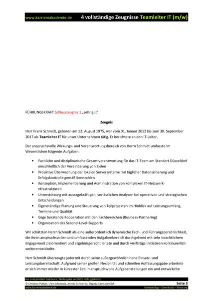 4 x arbeitszeugnis teamleiter it mw - Stellenbeschreibung Offentlicher Dienst Muster