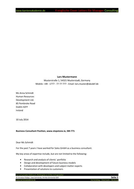 4 Cover Letter Englische Anschreiben Führungskraft Consulting
