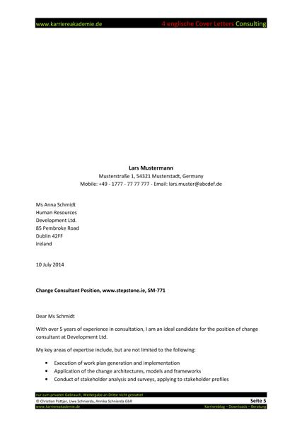 4 Cover Letter - Englische Anschreiben: Fachkraft Consulting ...