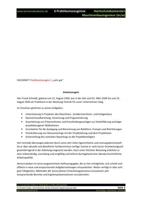 6 x praktikumszeugnis muster maschinenbauingenieur mw - Praktikumszeugnis Muster