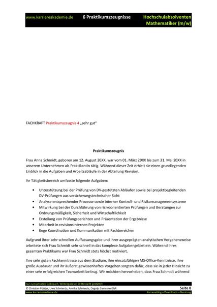 6 x Praktikumszeugnis Muster Mathematik | Karriereakademie
