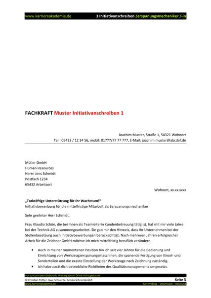 3 x initiativanschreiben zerspanungsmechaniker zerspanungsmechanikerin - Bewerbung Zerspanungsmechaniker