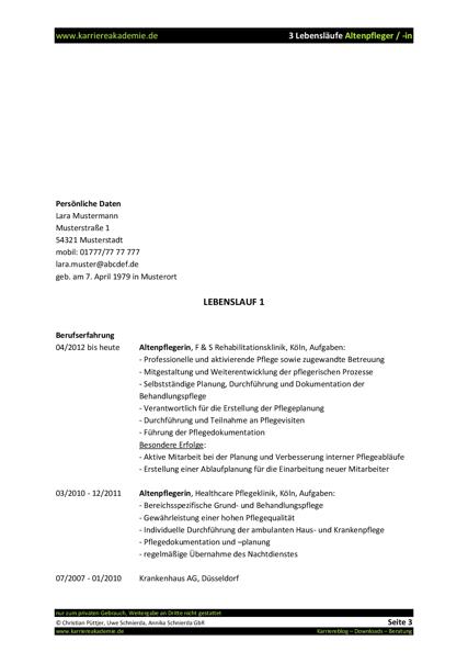 3 x lebenslauf altenpflegerin altenpfleger - Pflegedokumentation Muster