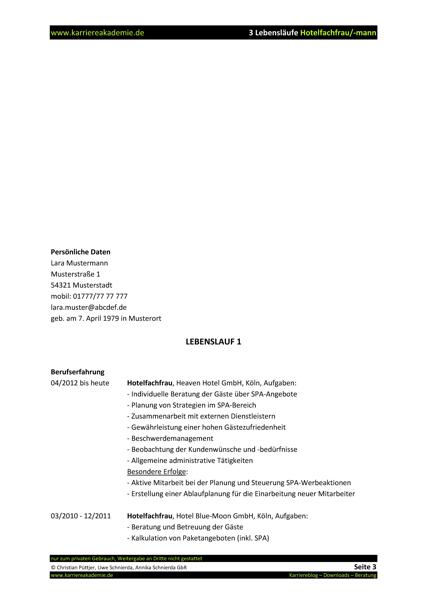 3 x Lebenslauf Hotelkauffrau Hotelkaufmann | Karriereakademie
