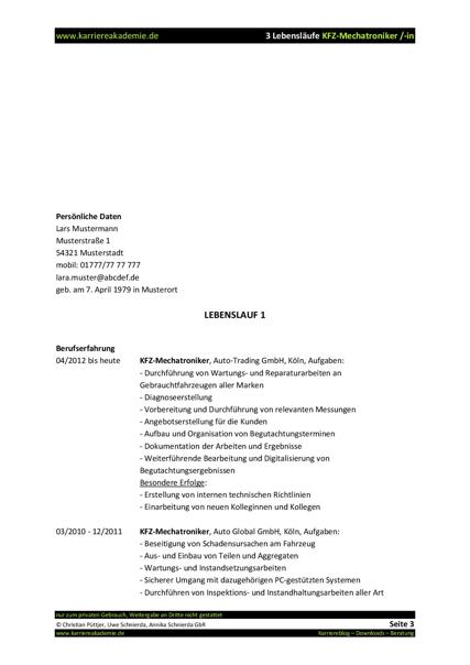 3 X Lebenslauf Kfz Mechatroniker Kfz Mechatronikerin Karriereakademie
