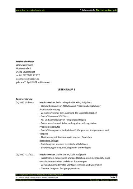 3 X Lebenslauf Mechatroniker Mechatronikerin   Karriereakademie