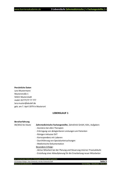 3 x lebenslauf zahnmedizinische fachangestellte zahnmedizinischer fachangestellter - Bewerbung Zahnmedizinische Fachangestellte Muster