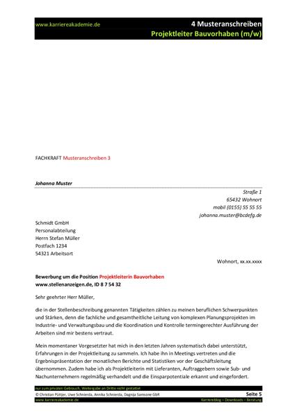 4 x Anschreiben: Projektleiter Bau / Bauleiter (m/w