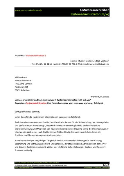 4 x Anschreiben: Systemadministrator (m/w) | Karriereakademie