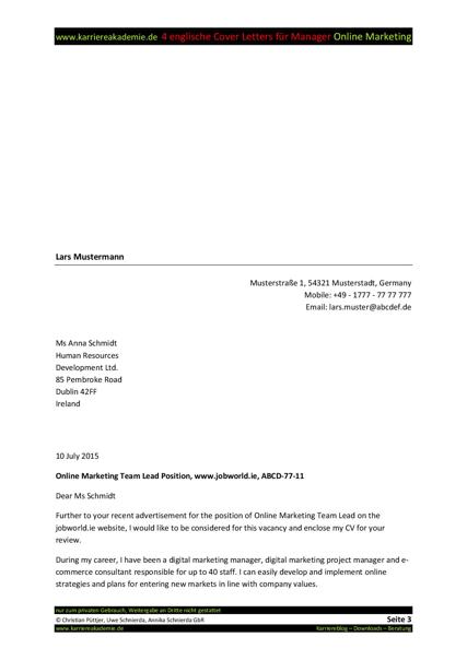 4 Cover Letter - Englische Anschreiben: Führungskraft Online ...