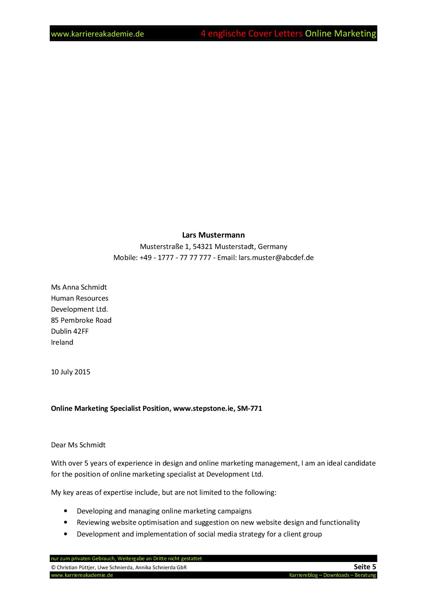 4 Cover Letter - Englische Anschreiben: Fachkraft Online ...
