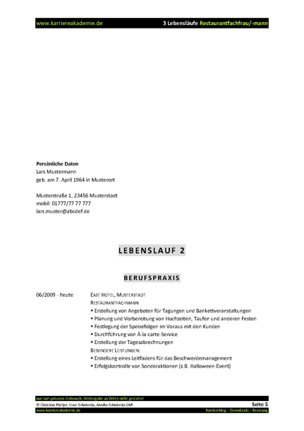 3 X Lebenslauf Restaurantfachmann Restaurantffrau Karriereakademie