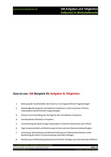 4 x Anschreiben Volljurist Wirtschaftsrecht (m/w) | Karriereakademie
