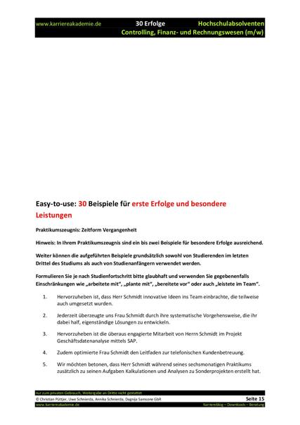 6 X Praktikumszeugnis Muster Wirtschaftswissenschaften Controlling