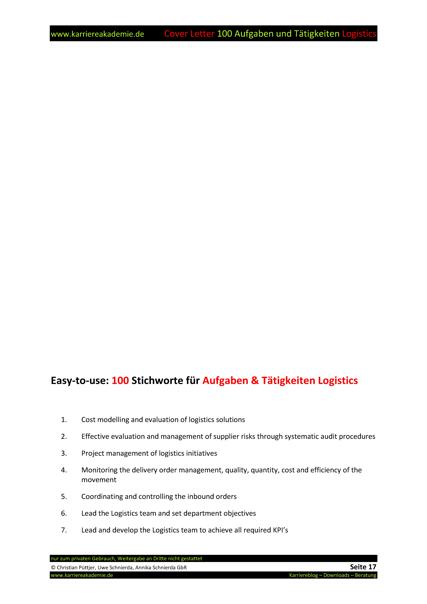 4 Cover Letter - Englische Anschreiben: Fachkraft Logistics ...