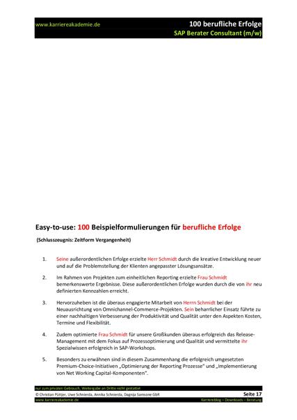 4 x Arbeitszeugnis SAP Berater Consultant | Karriereakademie