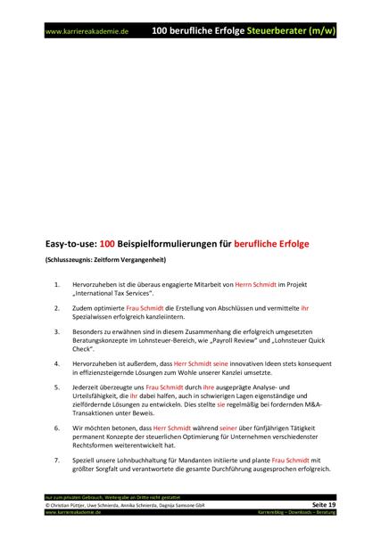 4 x Arbeitszeugnis: Steuerberater (m/w)   Karriereakademie