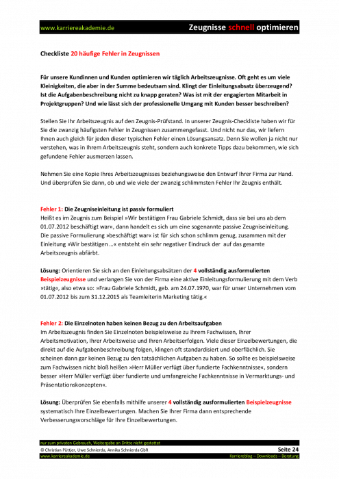klick produktvorschau - Arbeitszeugnisse Muster