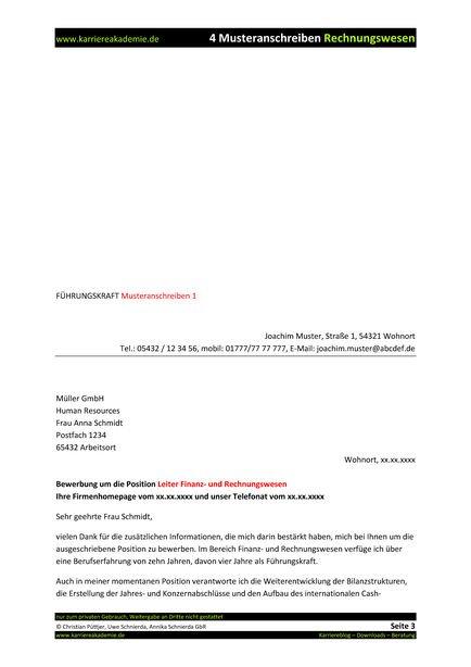 4 x anschreiben leiter finanz und rechnungswesen mw - Bewerbung Fuhrungsposition